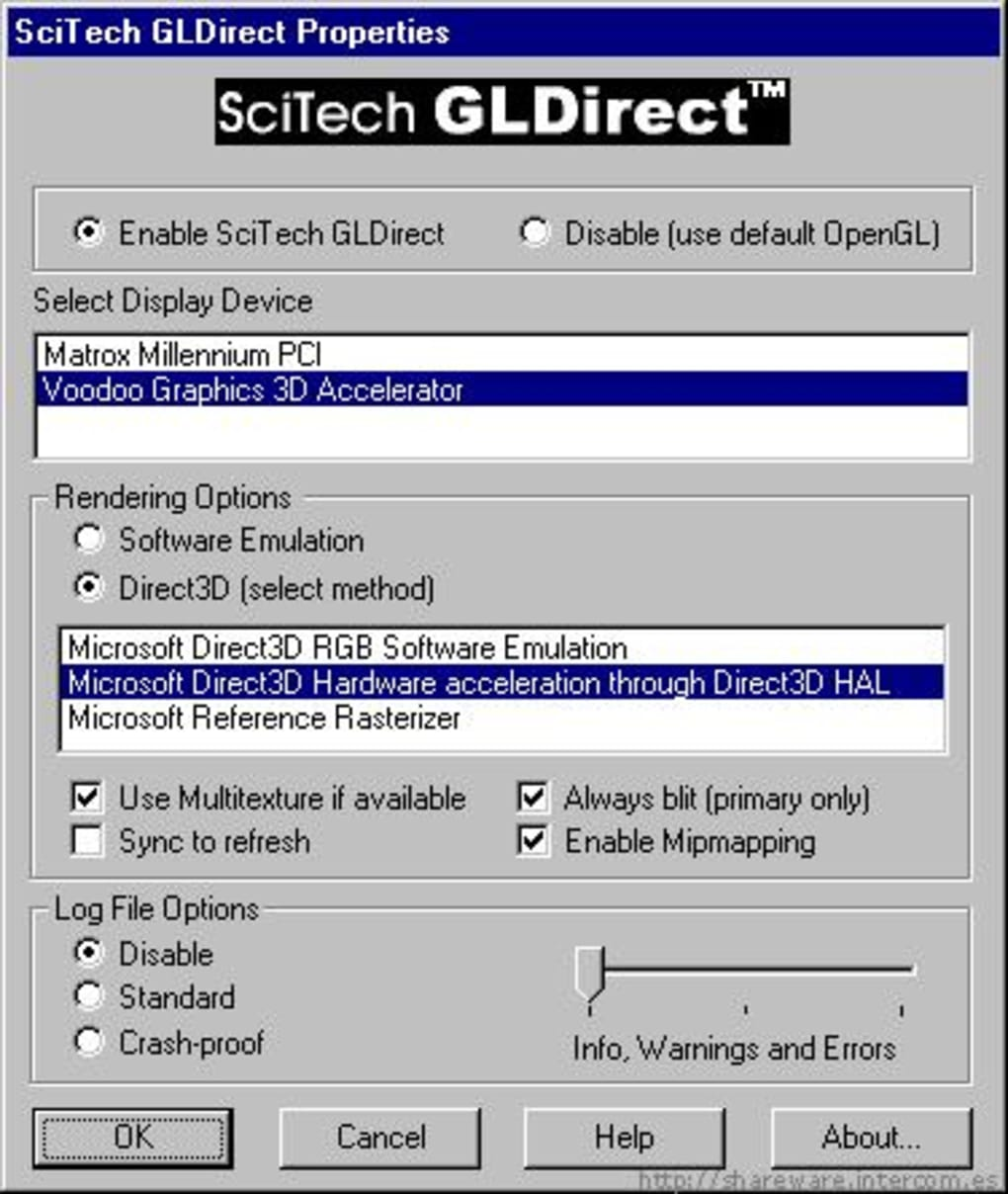 scitech gldirect configuration