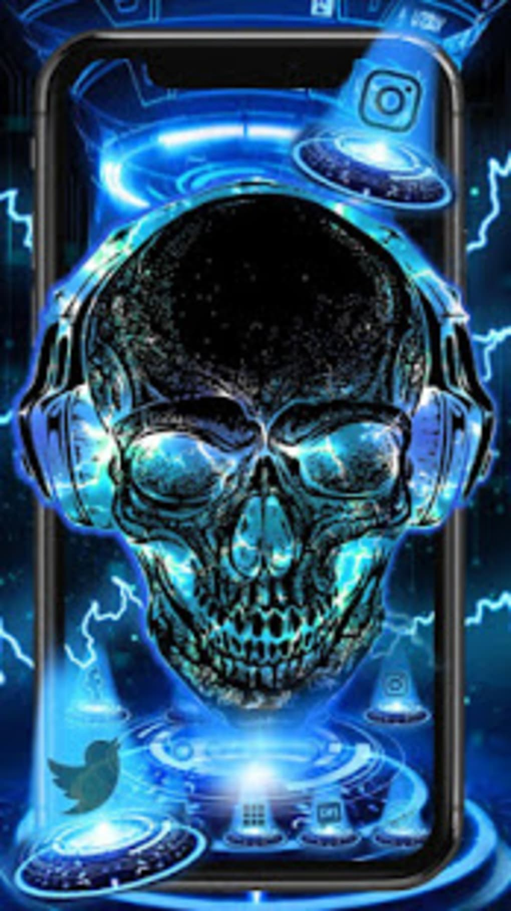 Neon Tech Skull Themes Hd Wallpapers 3d Icons For Android Download