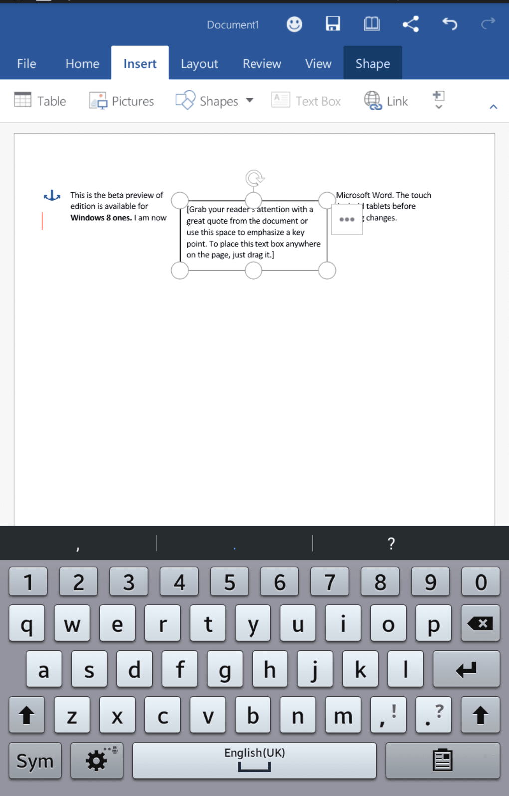 Screenshots for Microsoft Word (Android Tablet)
