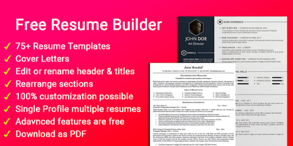 free resume builder cv maker templates pdf formats for android free download
