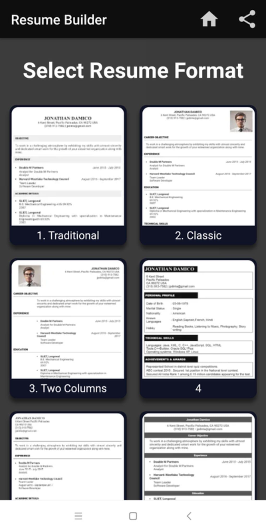 free resume builder cv maker templates pdf formats apk for