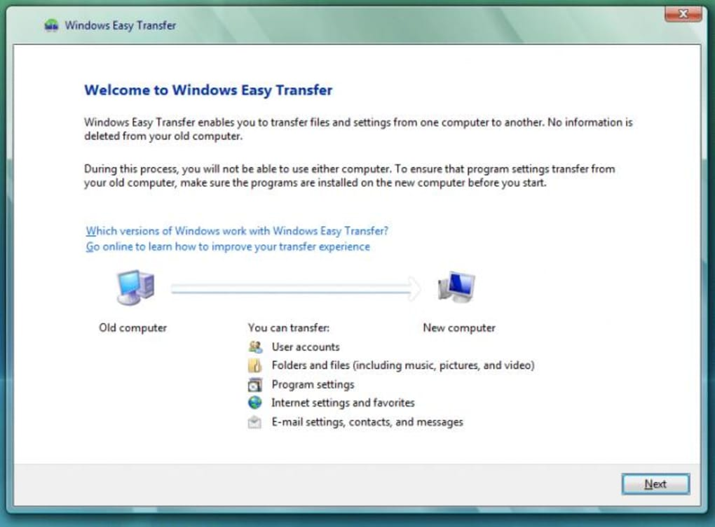 How to transfer files and settings from a windows xp or vista pc.