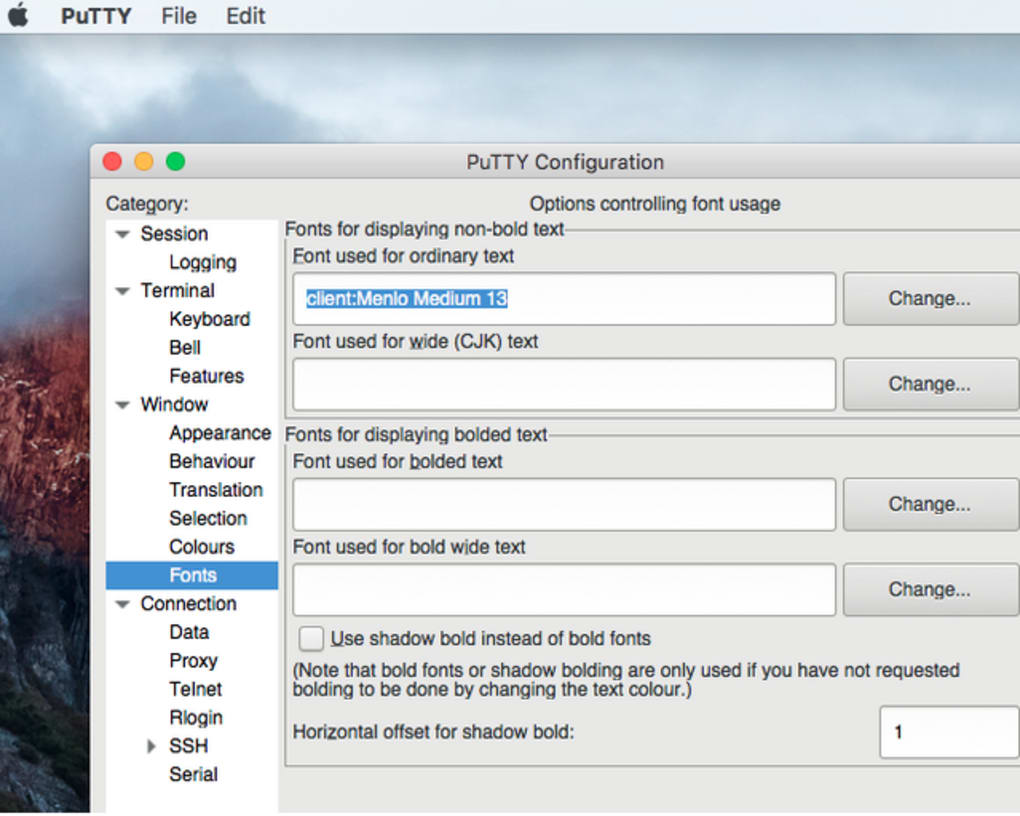 putty connection manager for mac os x