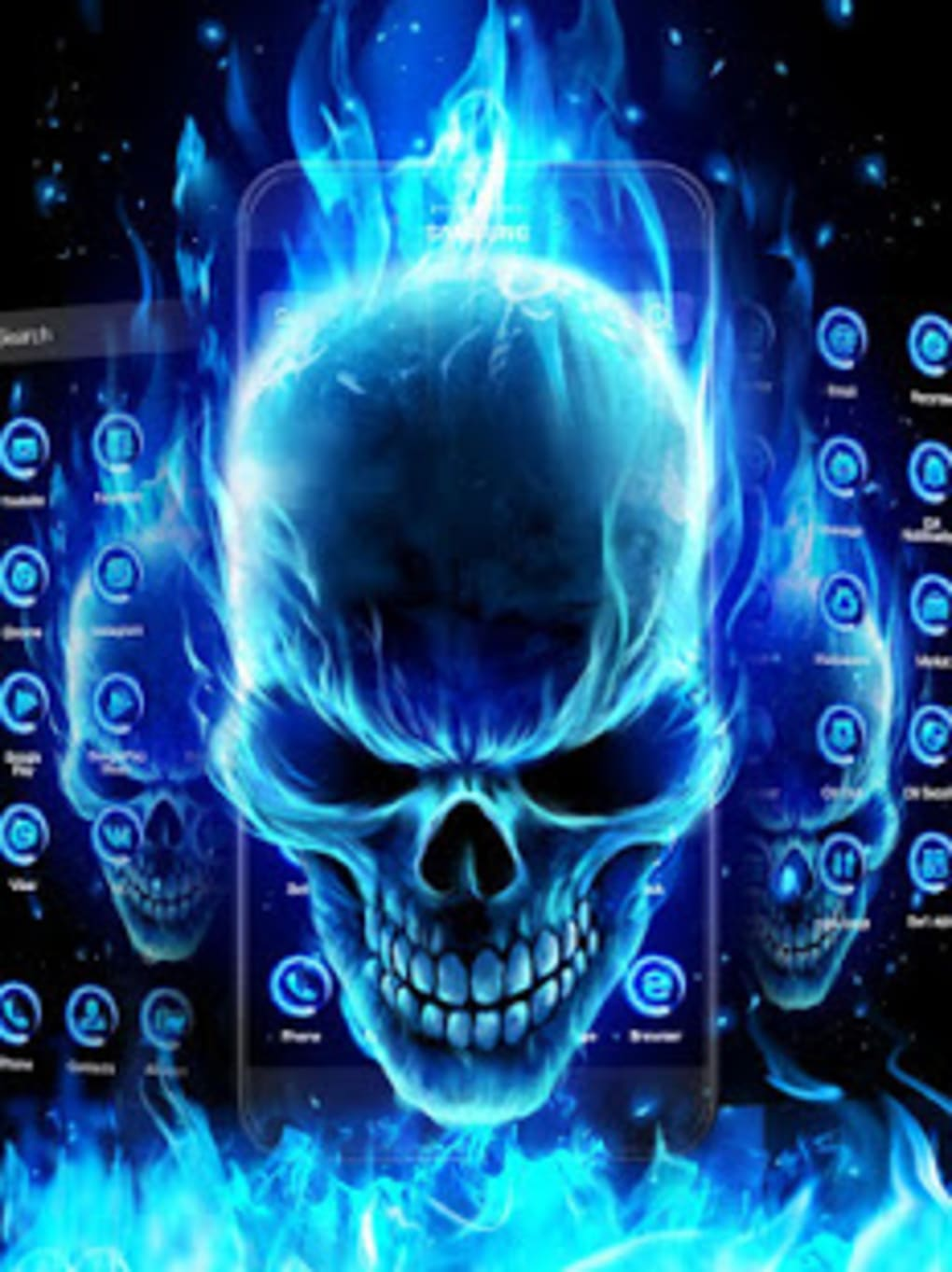 3d Blue Flaming Skull Theme Launcher For Android Download