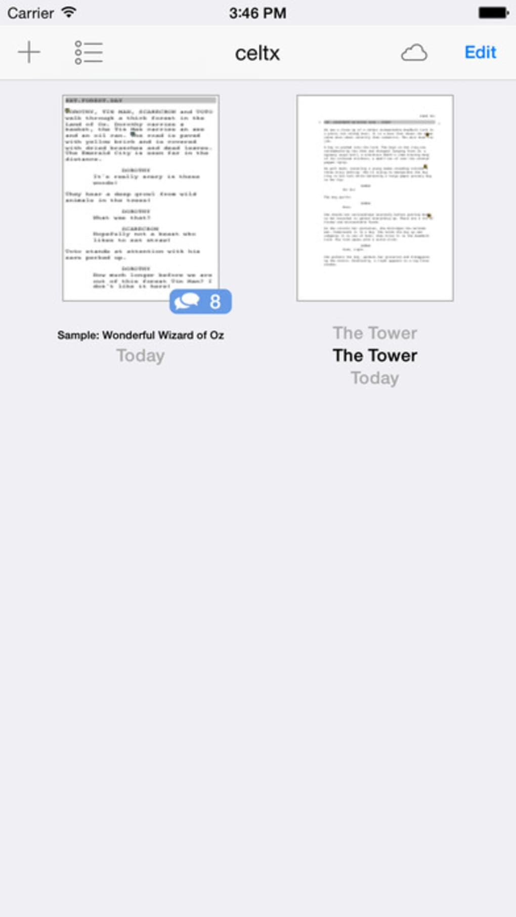 celtx script for iPhone - Download