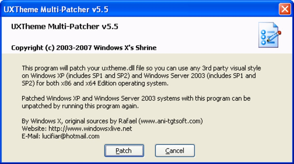 patch uxtheme pour windows xp sp3