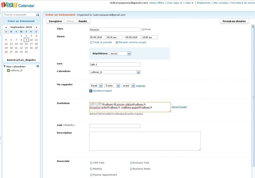 Calendrier Virtuel.Zoho Calendar Online