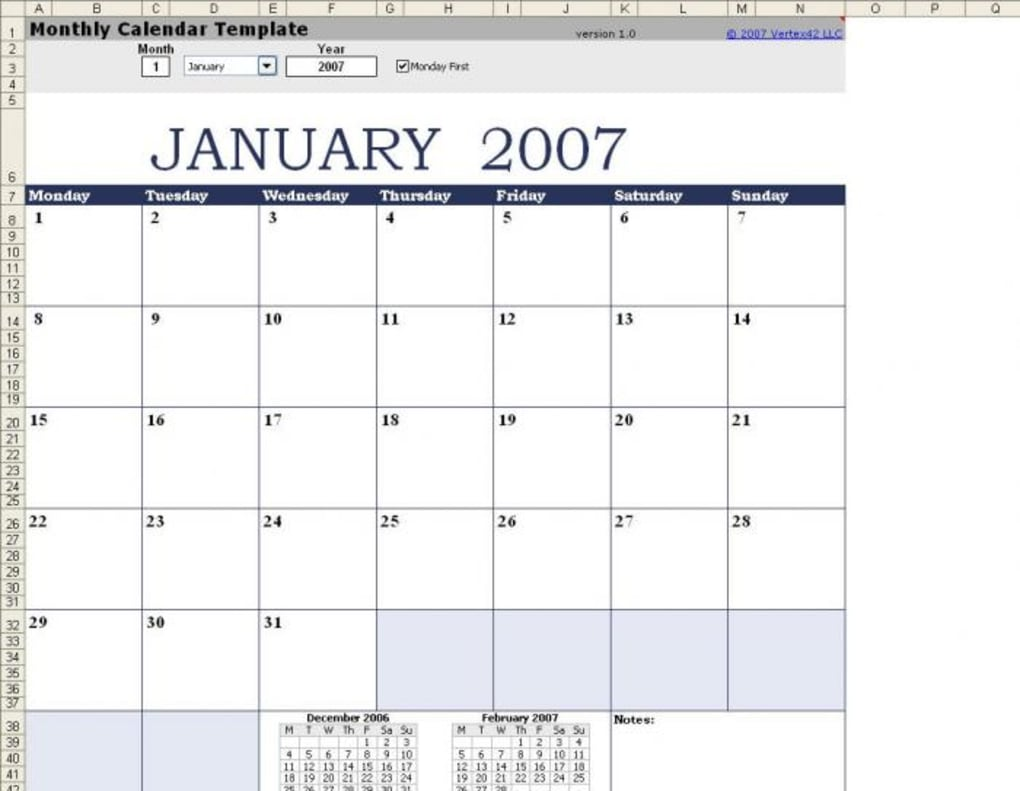 Free Monthly Calendar Template For Mac Download