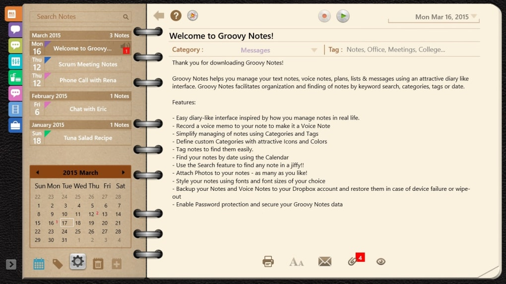Groovy Notes - Text, Voice Notes & Digital Organizer - Download