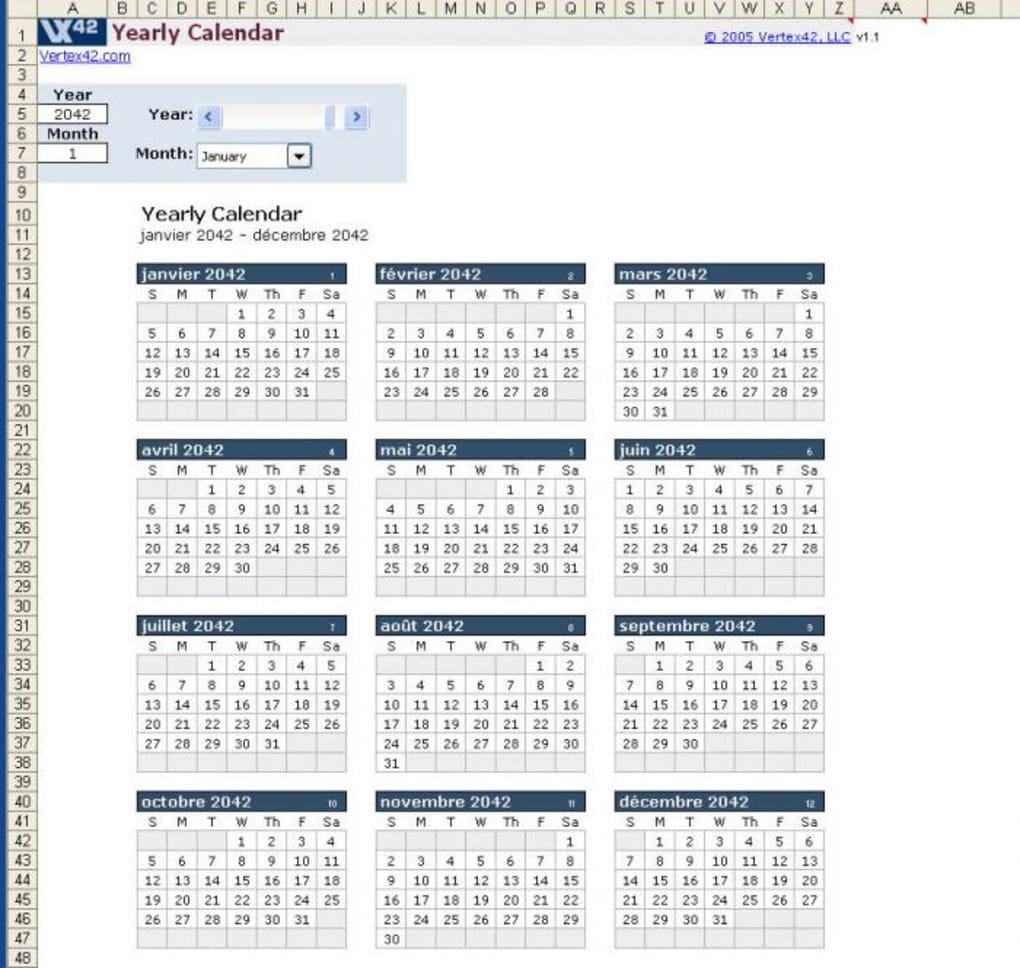 Calendrier Annuel Excel.Modele De Calendrier Excel Annuel Pour Mac Telecharger