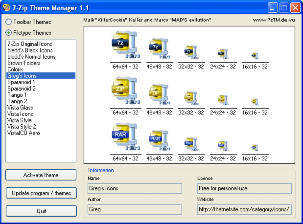 7 Zip Theme Manager Download