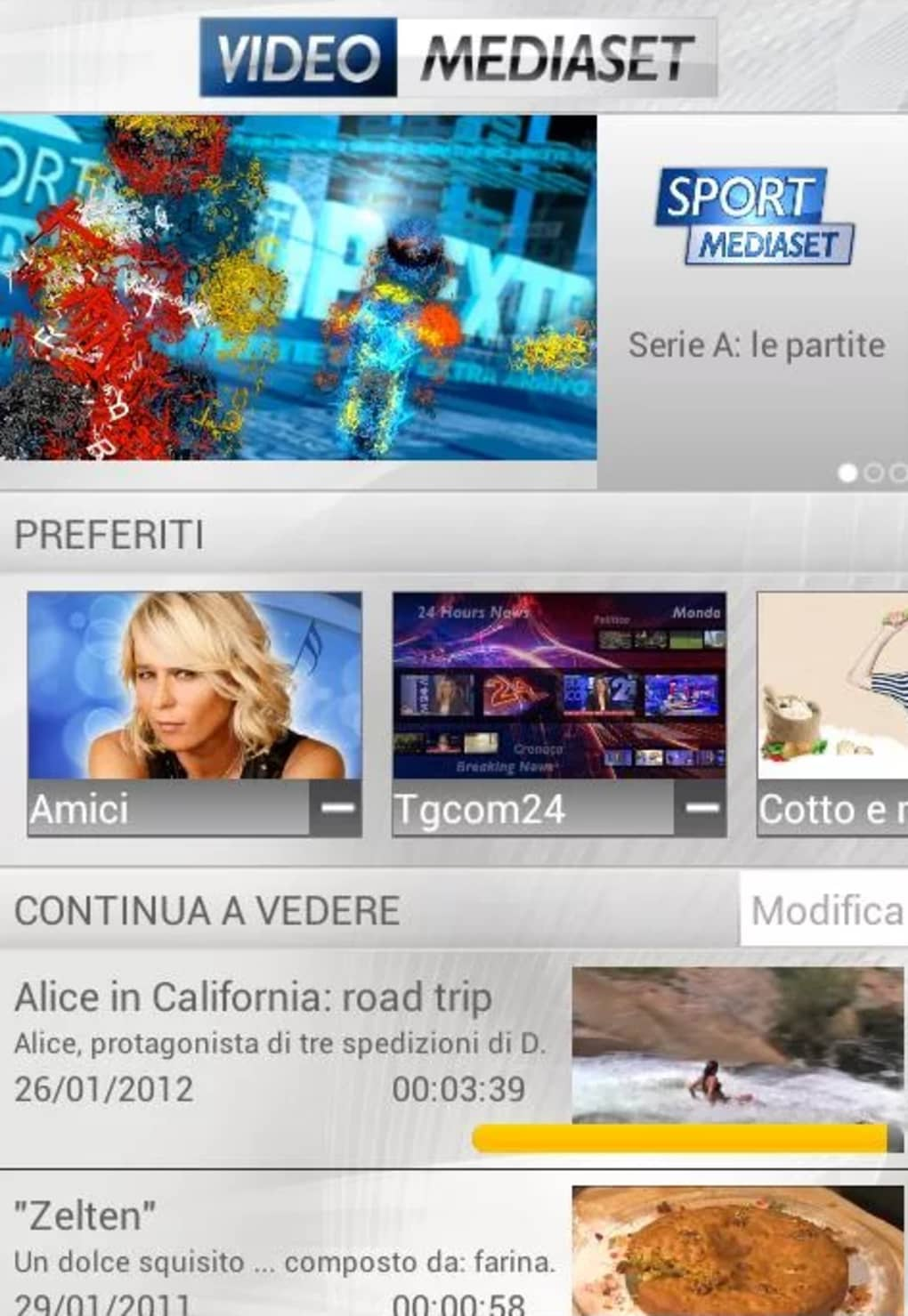 video mediaset con android