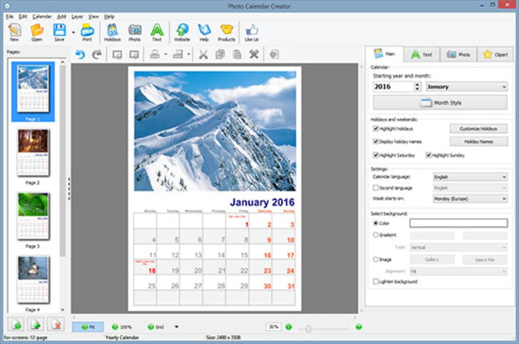 Photo Calendar Creator Download