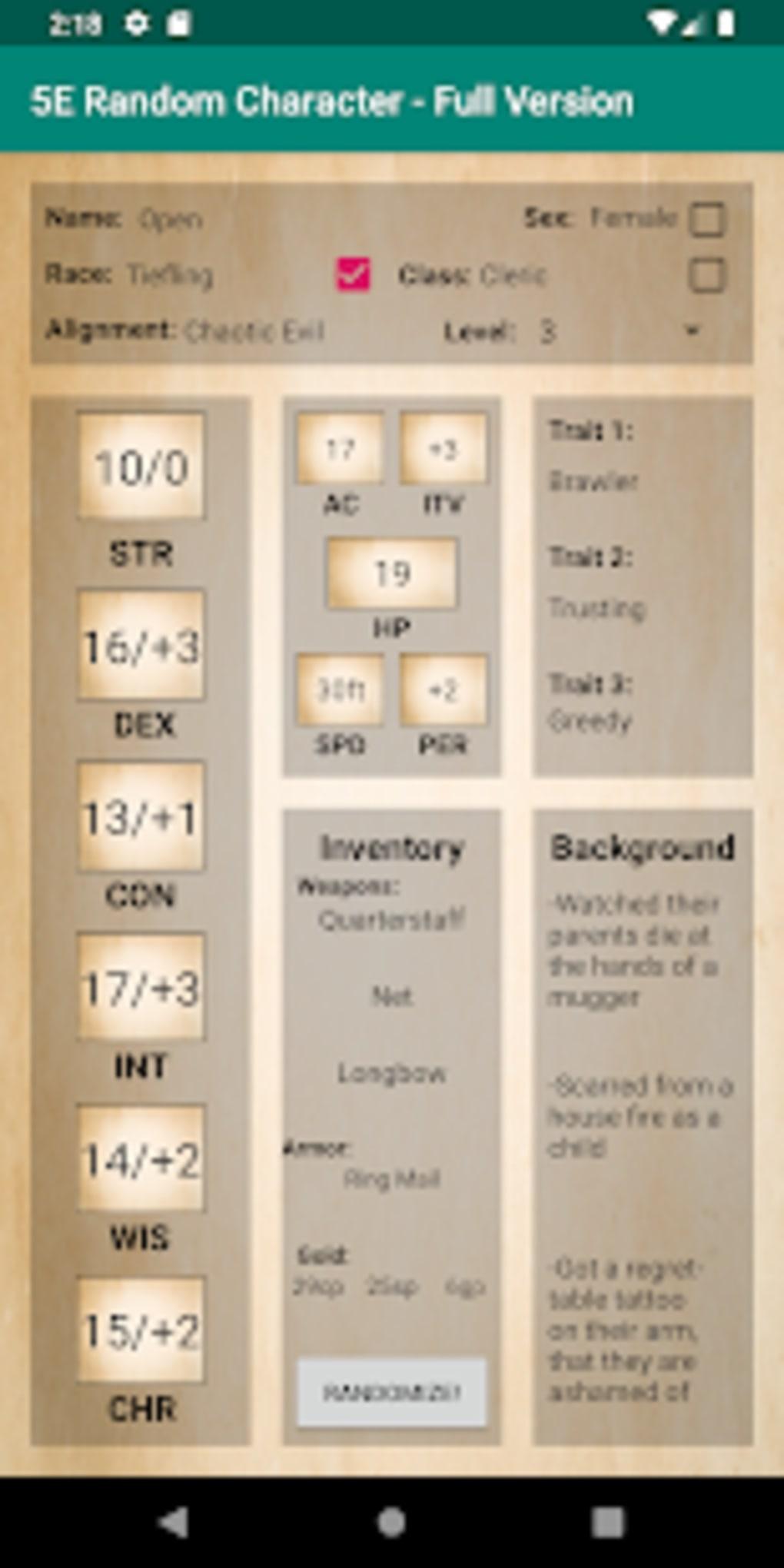 5E Generator 5e random character generator para android - descargar