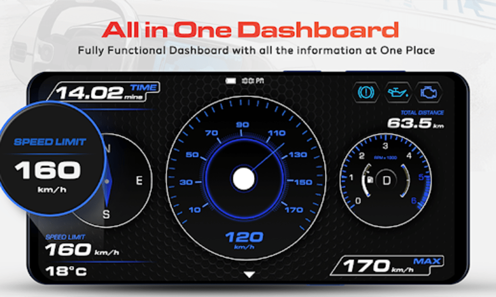 GPS Speedometer OBD2 Car dashboard: Speed limit for Android