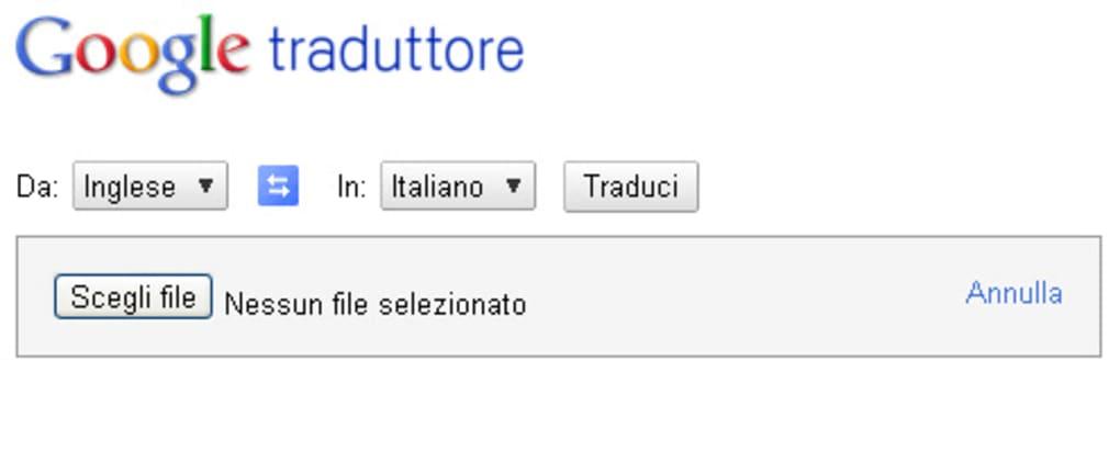 Google traduttore online for Traduzione da spagnolo a italiano