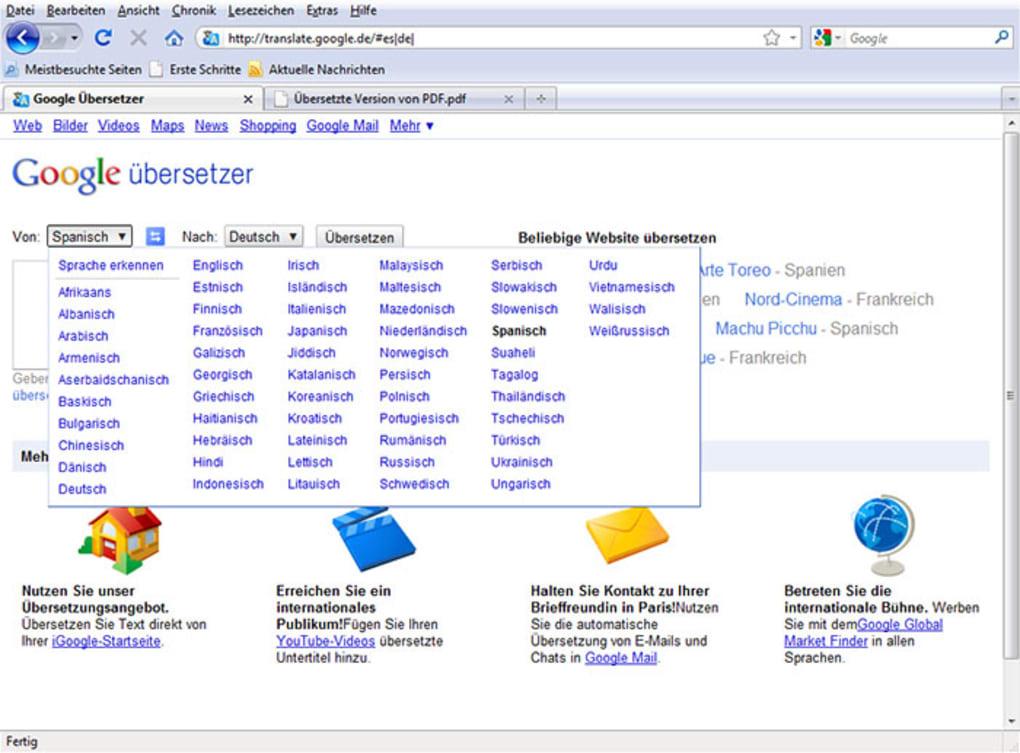 google übersetzer englisch auf deutsch