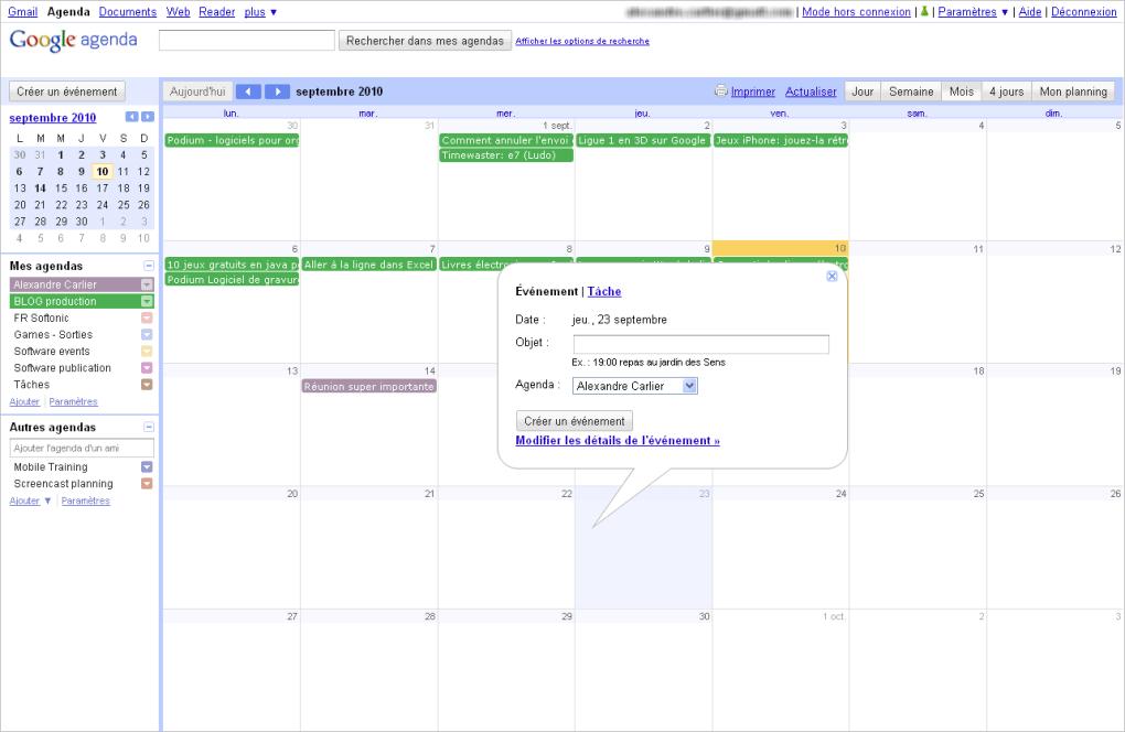 Partager Calendrier Gmail.Google Agenda Online