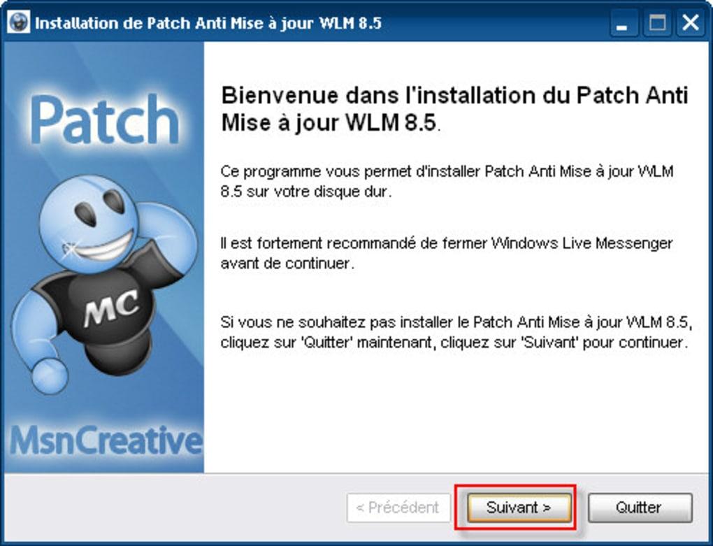 patch anti mise a jour msn 8.5 gratuitement