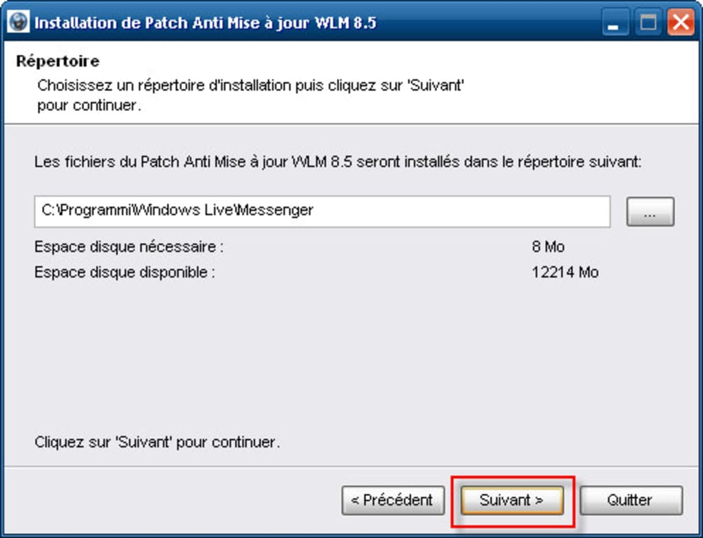 patch anti mise a jour msn 8.1