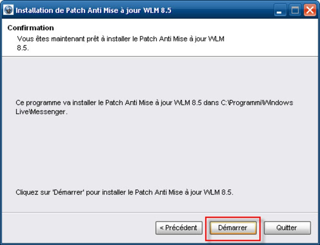 patch anti mise a jour wlm 8.5