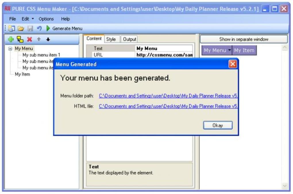 Pure CSS Menu Maker - Download