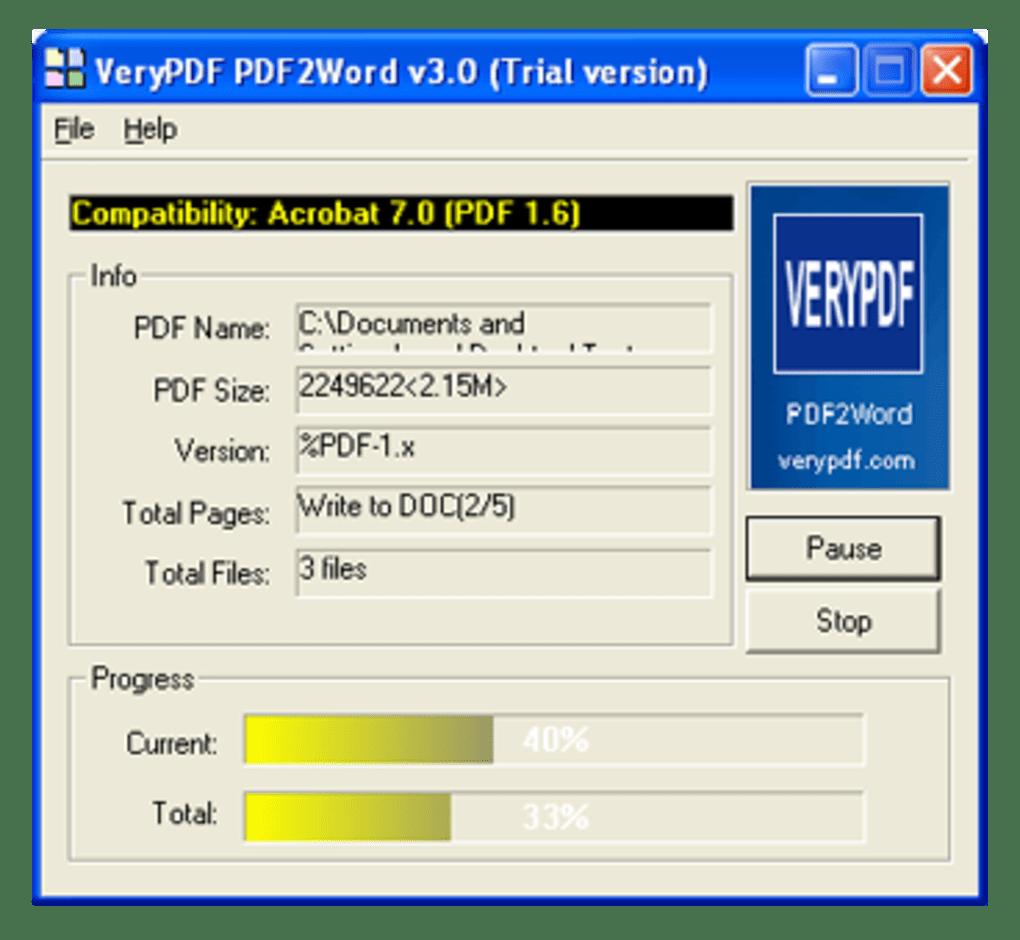 registration key verypdf pdf2word v3 0 free