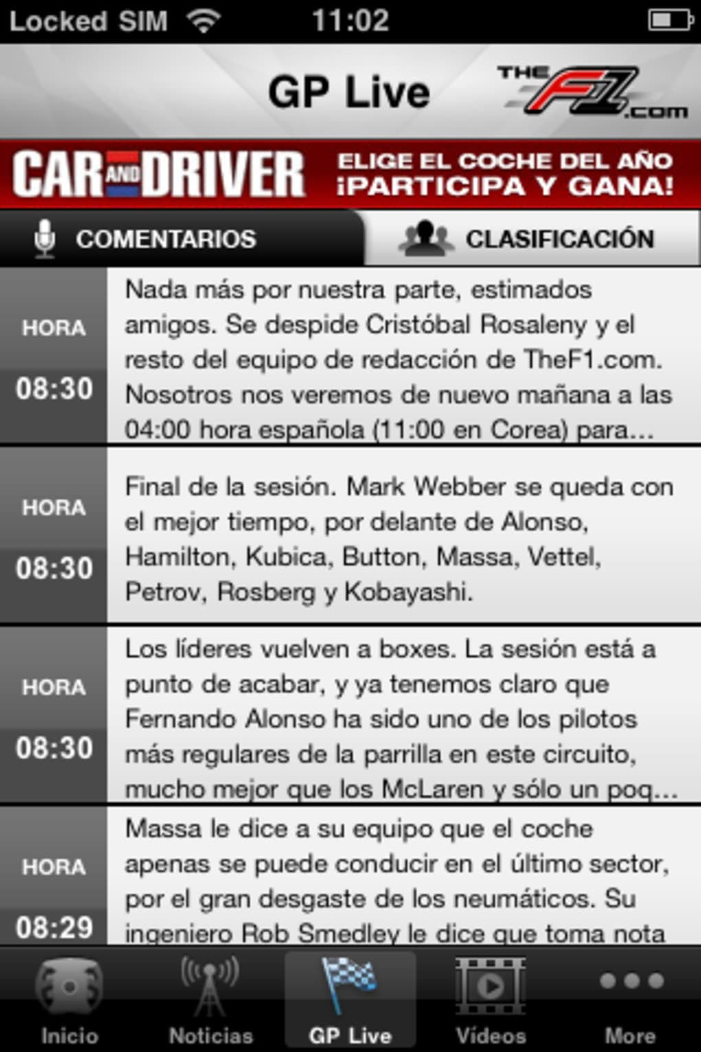 Formula 1 en directo iphone
