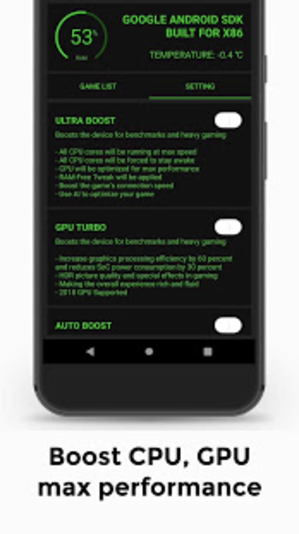 Game Booster 4x Faster with advance settings for Android