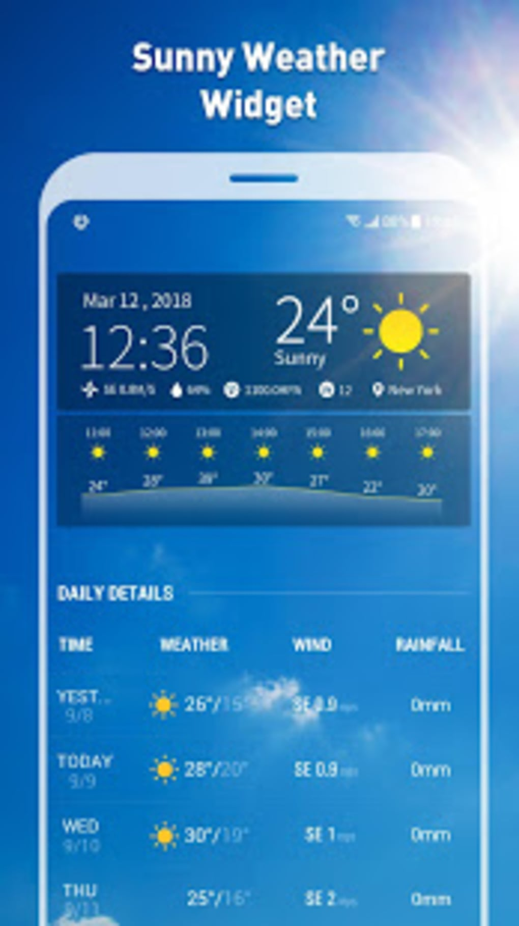 7 day weather forecast and daily temperature for android