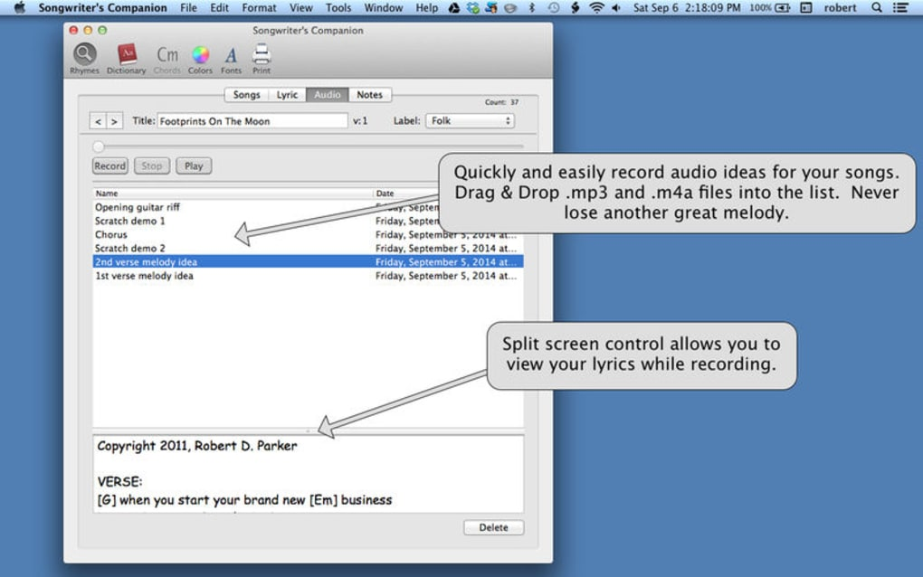 Songwriter's Companion for Mac - Download