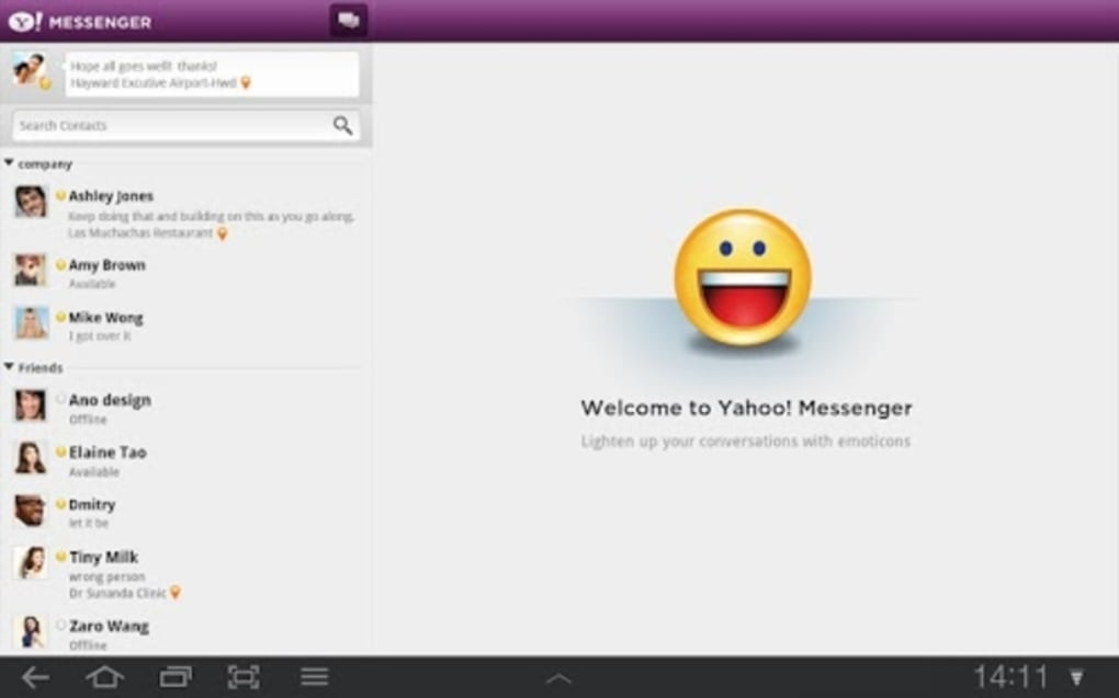 Yahoo messenger 2. 11. 0 for android download.