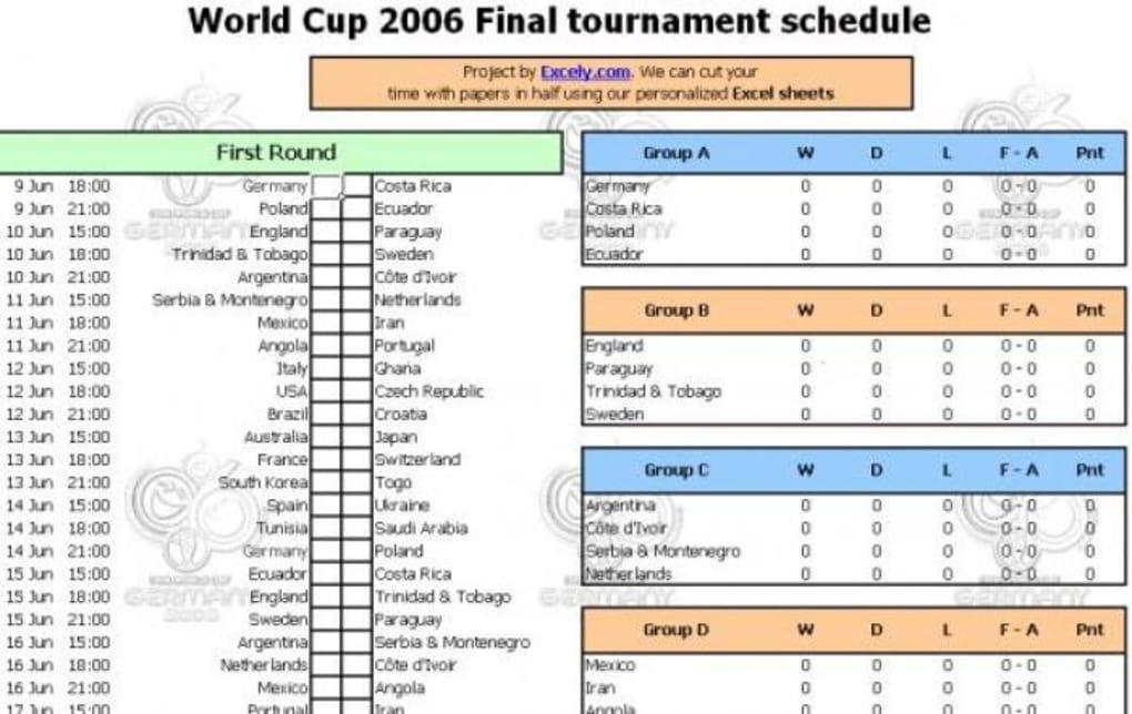 Calendario Con Excel.World Cup 2006 Schedule Descargar