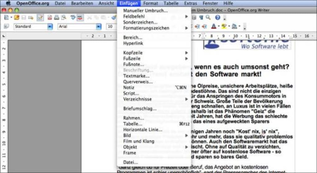 OpenOffice für Mac - Download