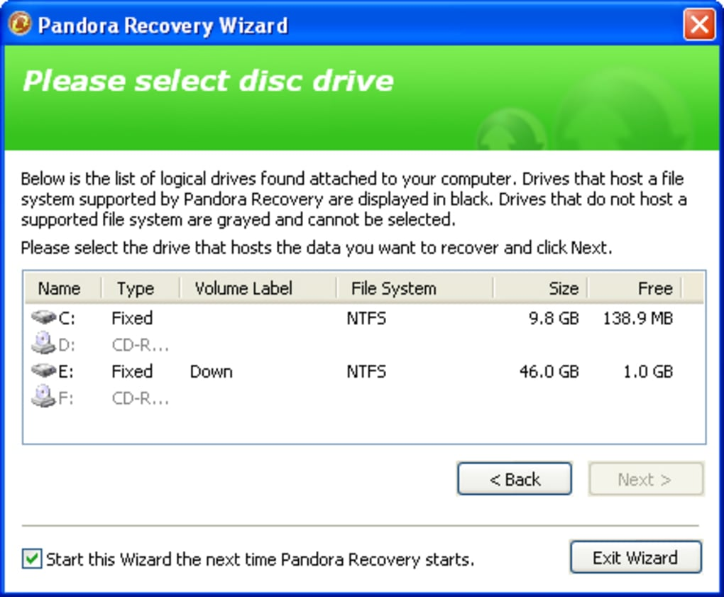 pandora recovery download windows 7