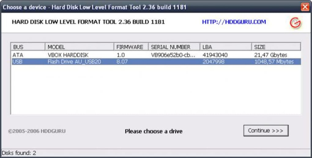 hard disk low level format tool 2.36 build 1181