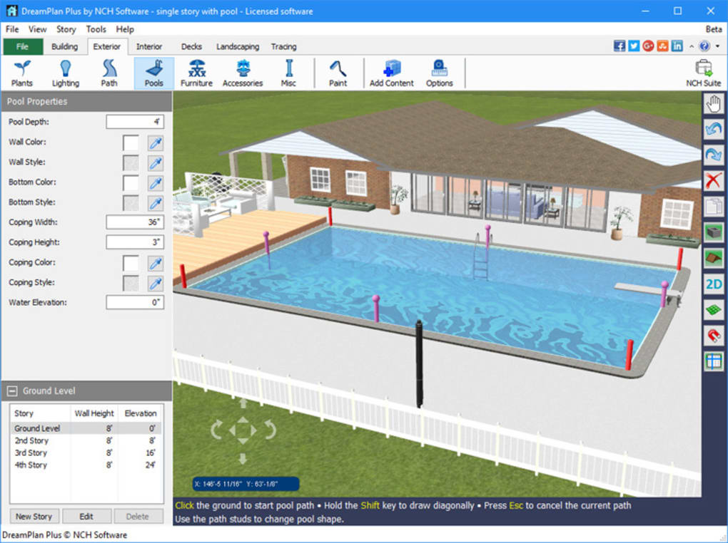 Dreamplan home design software download for Pool design program