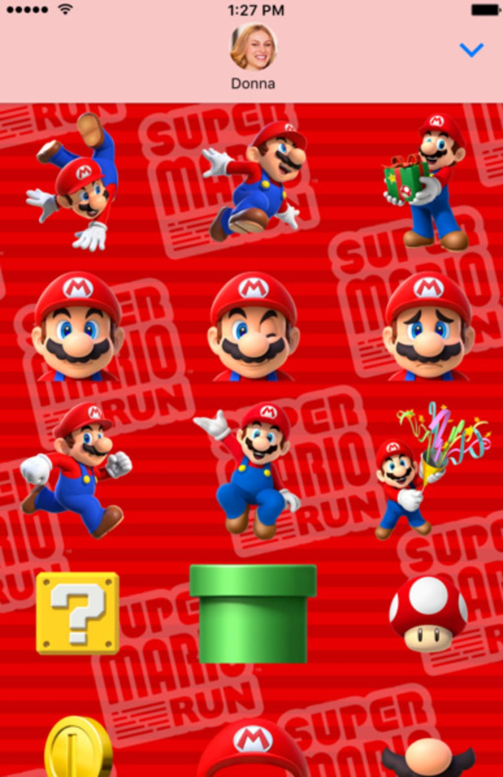 SUPER MARIO RUN Stickers for iPhone - Download