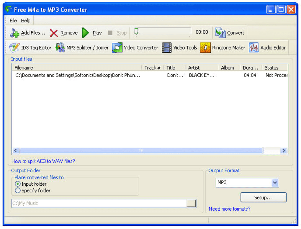 Convert M4A to MP3 audio format online and free with our quality converter