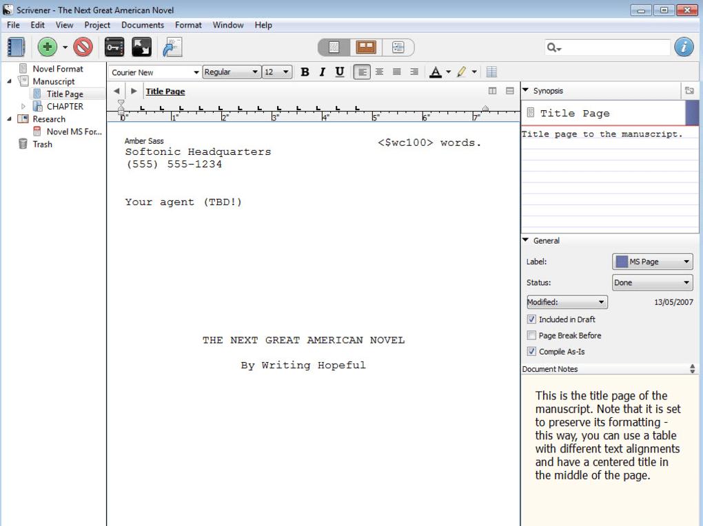 Scrivener download.
