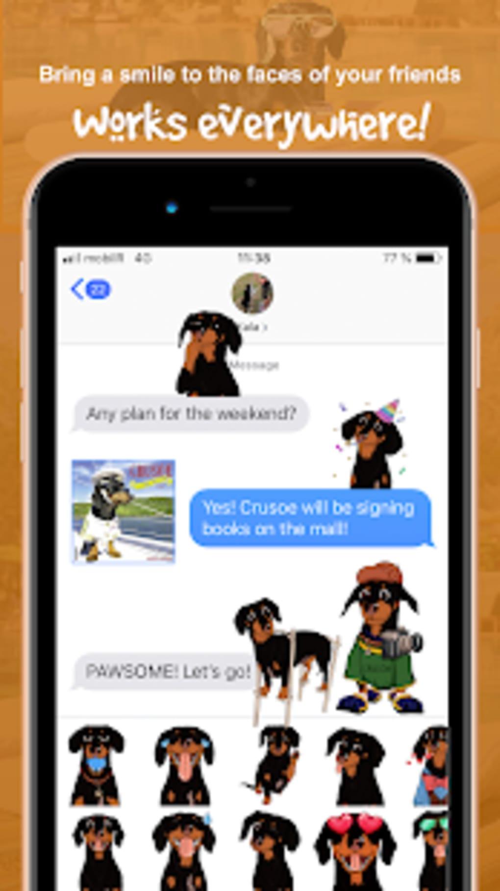 CrusoeMoji - Celebrity Dachshund Wiener Dog Emojis for Android