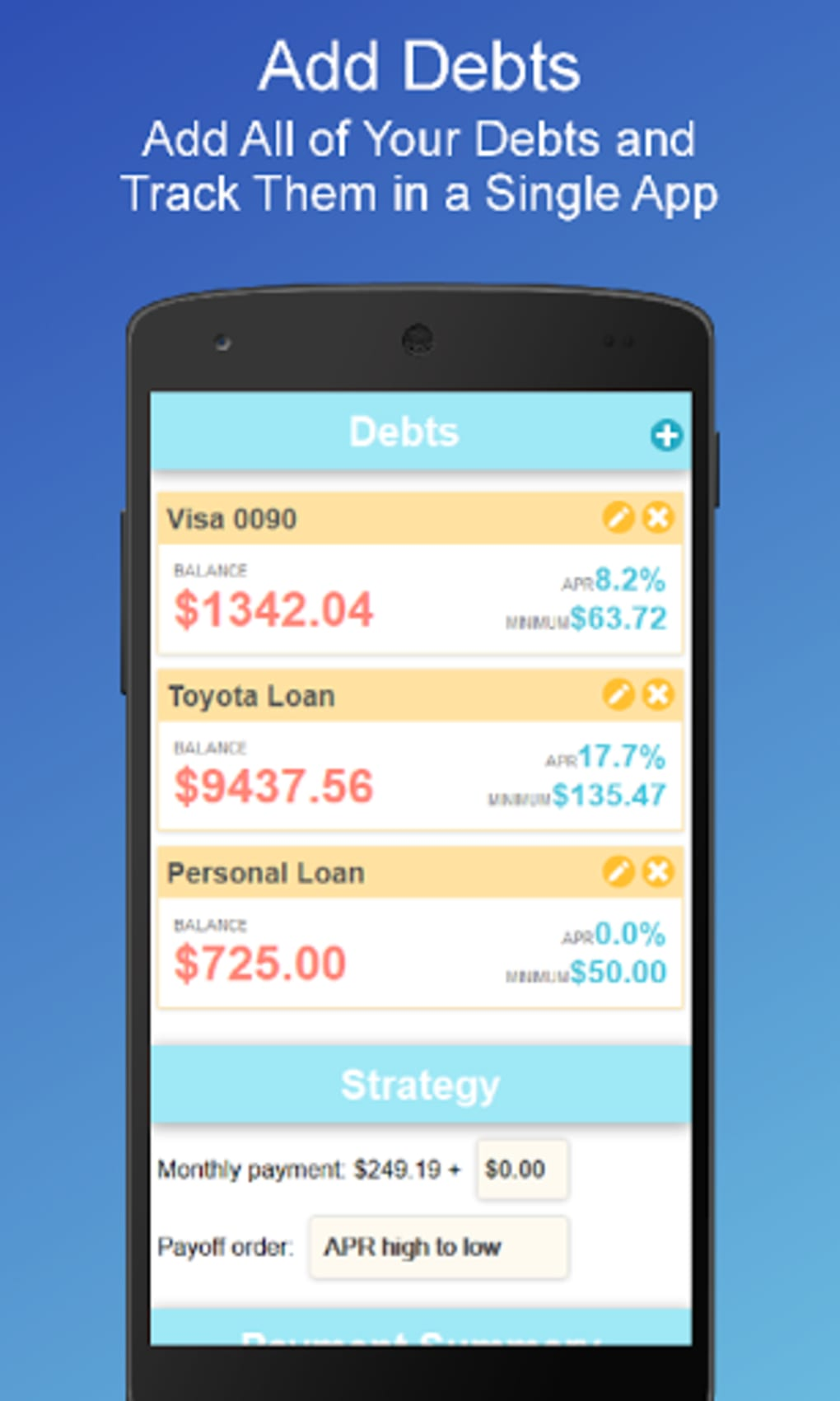 debt payoff planner for android download