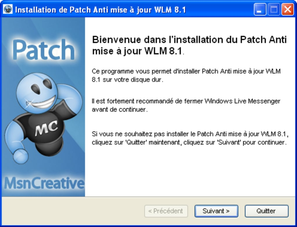 patch anti mise a jour wlm 2009