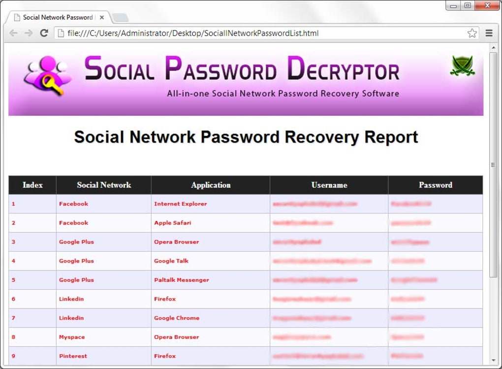 Social Password Decryptor - Download