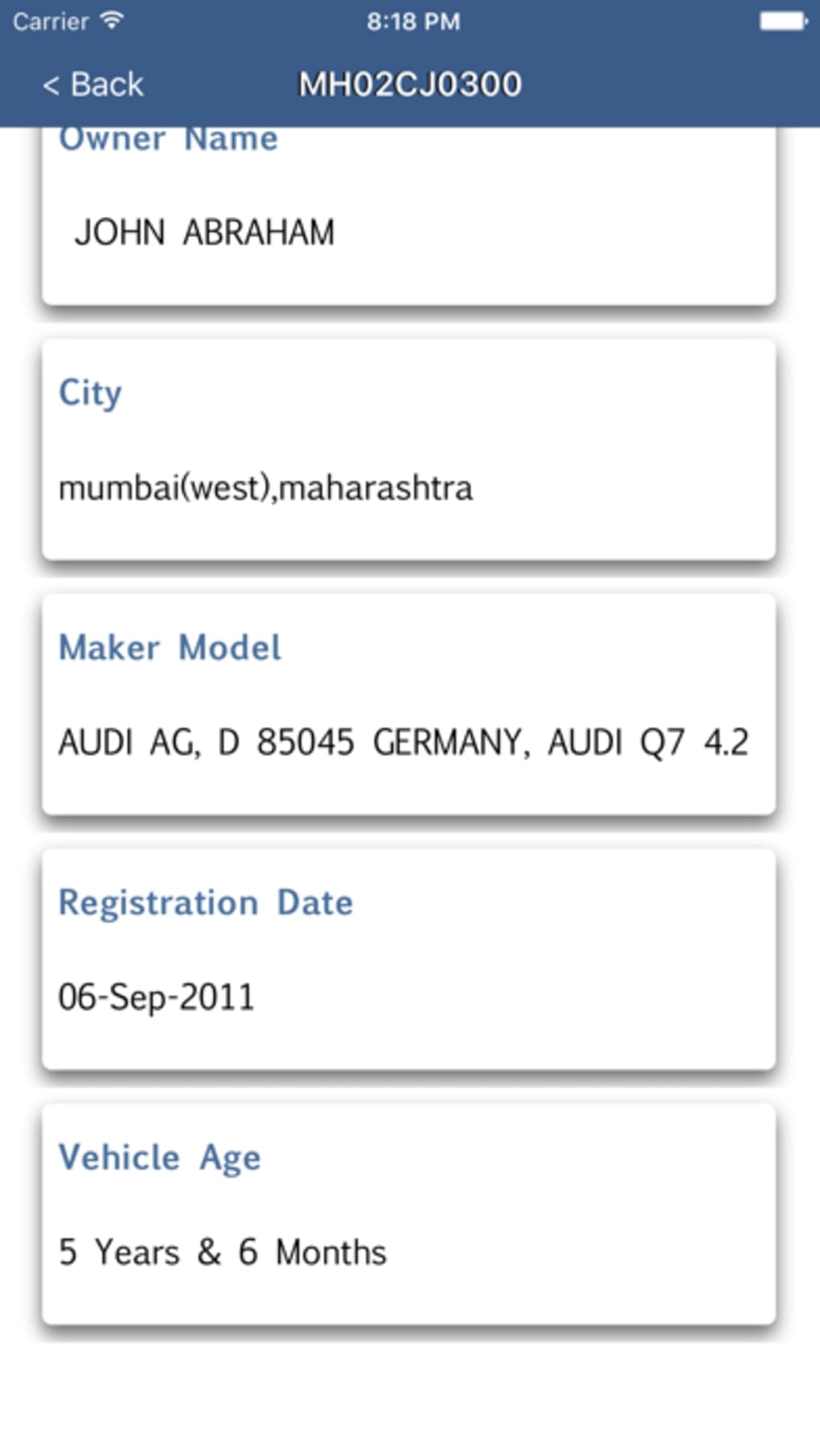 Vehicle Registration Info for iPhone - Download
