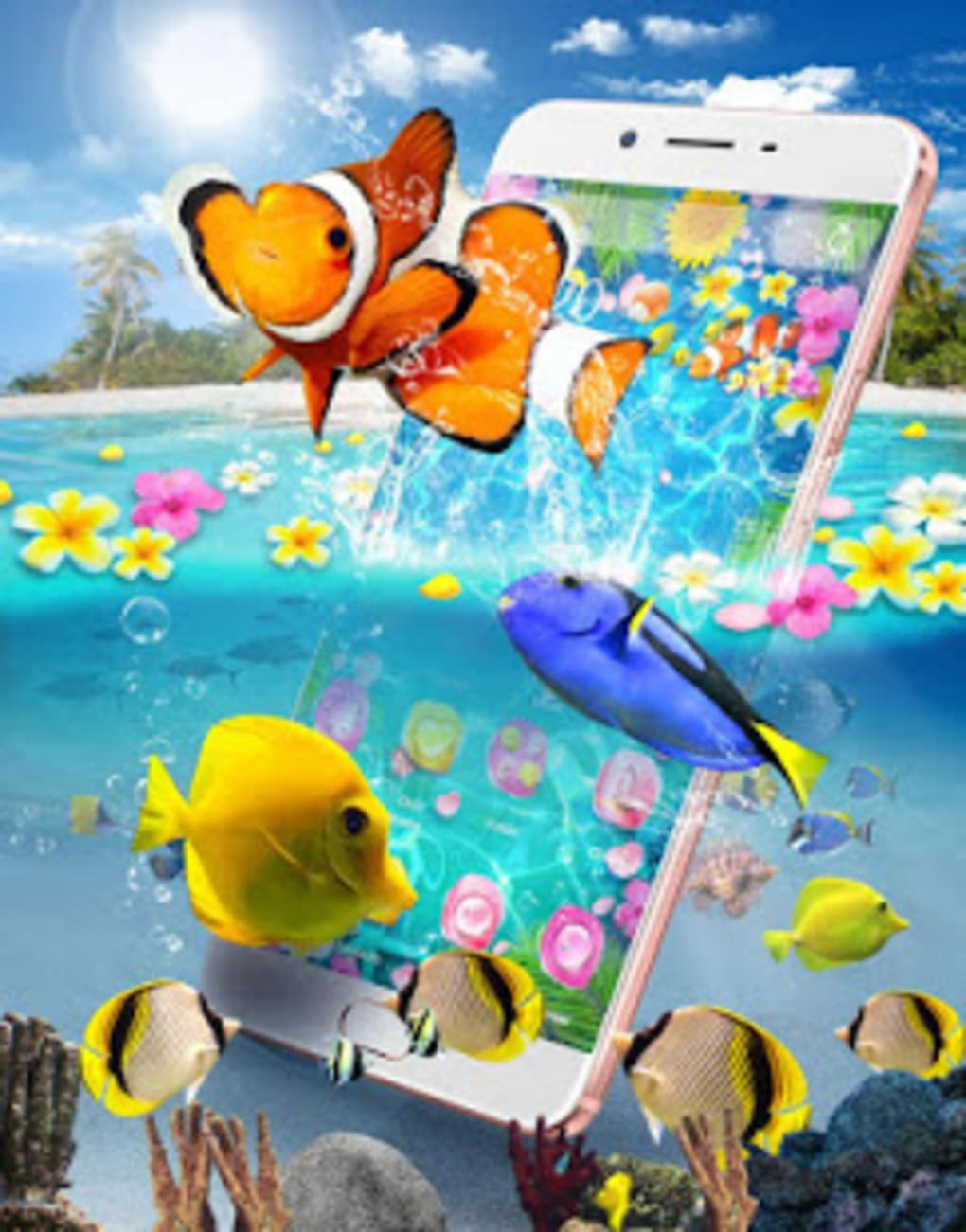 lively 3d color fish theme screenshot