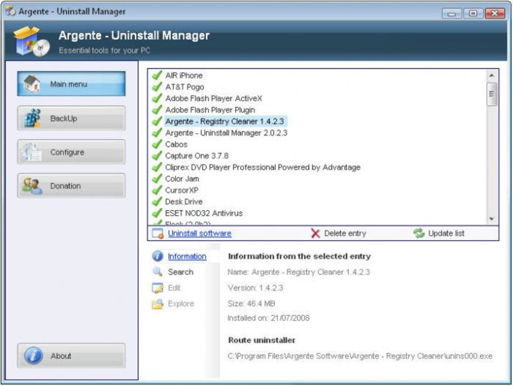 Argente Uninstall Manager