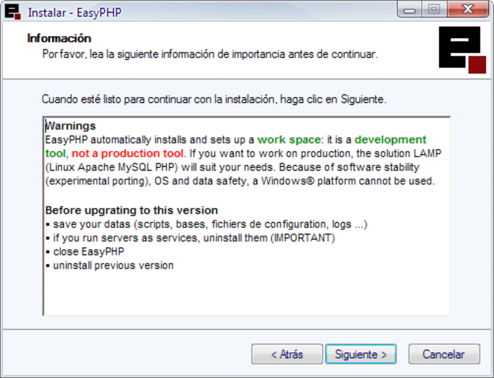 EASYPHP 1.8 DOWNLOAD