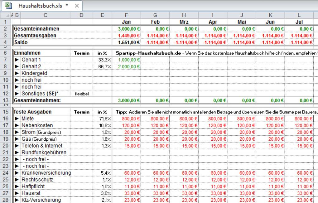 Spartipp-Haushaltsbuch - Download