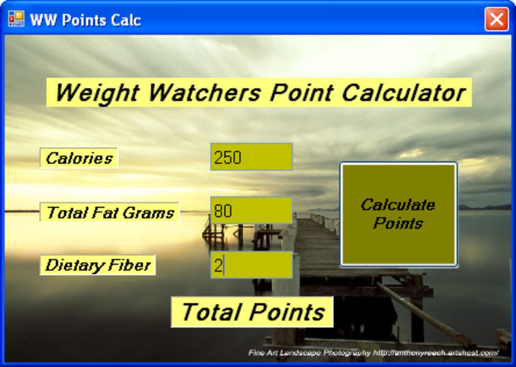 free weight watchers smart points calculator